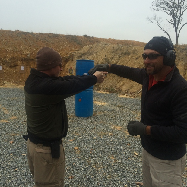 Frank explaining property grip with Corporal Sparrow